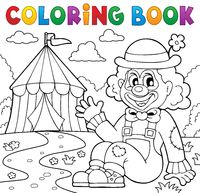 Coloring book clown near circus theme 2 - picture illustration.