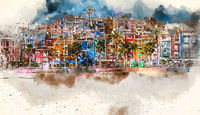 Villajoyosa skyline, digital watercolor painting. Spain