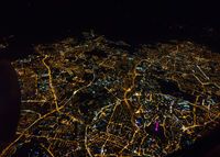 Aerial night view of a city in Malaysia