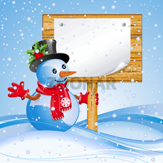 Billboard with snowman.