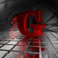 großbuchstabe g in spiegelumgebung - 3d illustration