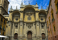 Baroquial main  facade of the Granada Cathedral, Granada, Spain