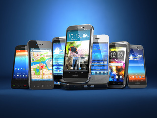 Choose mobile phone. Row of the different smartphones on blue background.