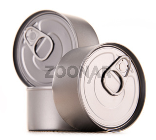 Composition with three metal cans isolated on white