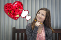 Daydreaming Girl Next To Floating Hearts with Red Roses