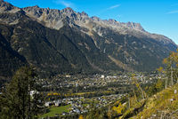 Chamonix and the mountain range of the Aiguilles Rouges, Haute Savoie, France