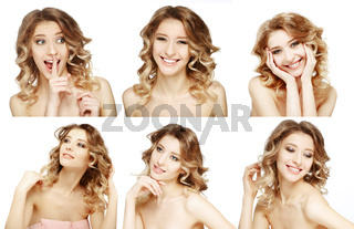 Collage close-up portrait of a beautiful smiling blonde with curly hair