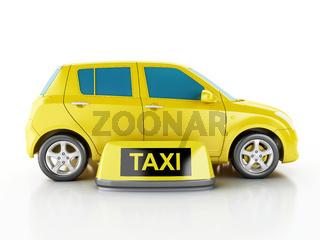3d yellow taxi car.