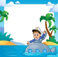 Frame with sailor on submarine - picture illustration.