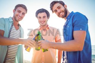 Handsome men toasting