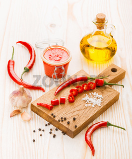 Ingredients for hot chili pepper sauce preparation