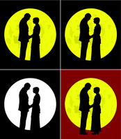Couple and full moon (vector EPS)