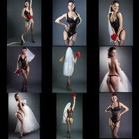 Erotica. Set of seductive bride posing in studio