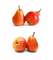 Red pears on white