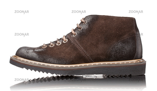 brown male leather boots isolated on white