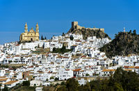 White Town Olvera with the parish church of Our Lady of the Incarnation, Olvera, Spain