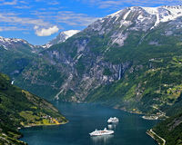 two cruise ships in the UNESCO World Natural Heritage Site Geirangerfjord, Geiranger, Norway