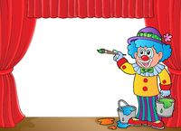 Clown with paints on stage - picture illustration.