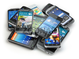Choose mobile phone. Heap of the different smartphones.