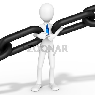 3d man businessman holding chain together