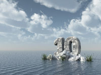 nummer zehn aus stein im wasser  - 3d illustration