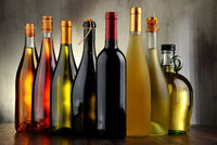 Composition with assorted bottles of wine.
