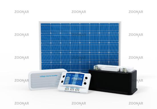 Photovoltaik Set mit Laderegler, Batterie und Wechselrichter 2