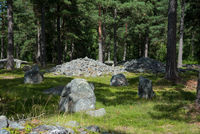 Cairns on the burial site of Trullhalsar, Gotland