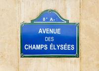 Avenue des Champs Elysées street sign