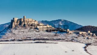 Spis Castle in winter in Slovakia