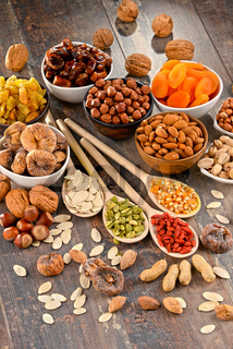 Composition with dried fruits and assorted nuts.