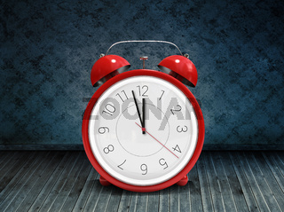 Composite image of alarm clock counting down to twelve