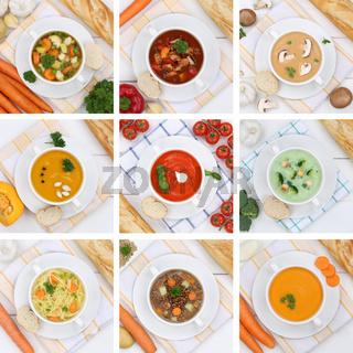 Collage Suppe Suppen Tomatensuppe Gemüse Gemüsesuppe von oben gesunde Ernährung