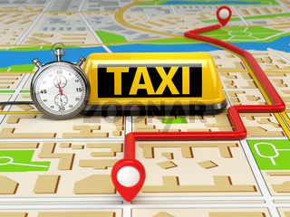 Taxi sign on the city map with stopwatch and route. Concept of taxi online service.