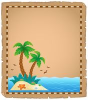 Parchment with tropical island theme 1 - picture illustration.