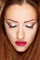Make up on brunette woman