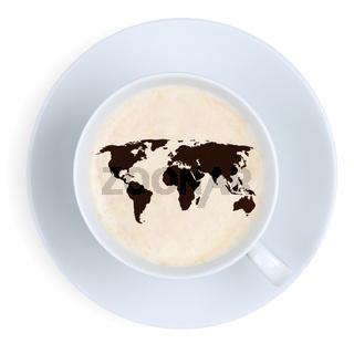 Kaffee in Tasse Welt Erde Karte Kaffeetasse