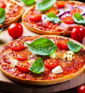 Traditional homemade pizza with tomato and cheese