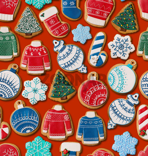 Seamless texture with Christmas gingerbread cookies