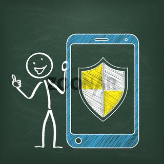 Blackboard Stickman Smartphone Protection Shield