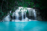 Jangle landscape with Erawan waterfall. Thailand