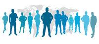 Business Team vor Weltkarte