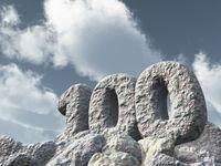 nummer einhundert aus stein - 3d illustration