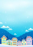 Winter theme with Christmas town image 1 - picture illustration.