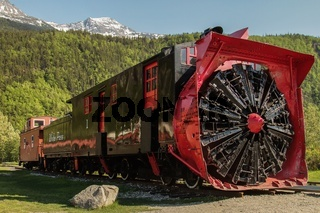 Old snow blower train at Skagway Alaska