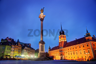 Old town in Warsaw, Poland at night