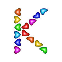 Letter K made of multicolored hearts on white background