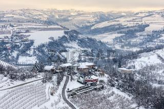 Hills of Langhe in winter.