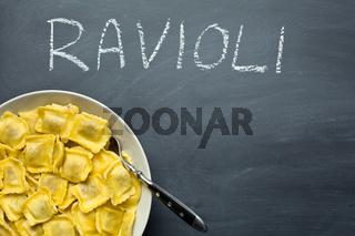 cooked ravioli pasta