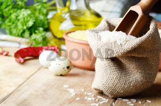 Rice in burlap sack
